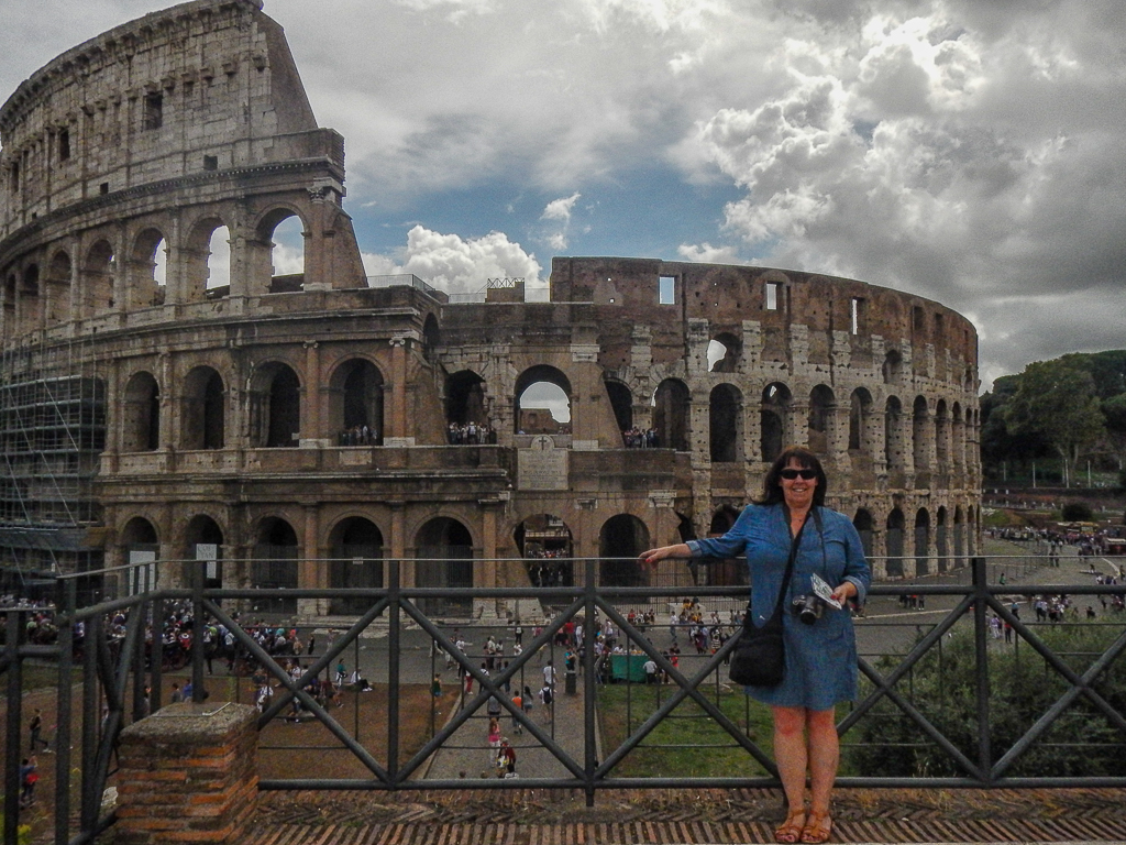 Lynne at the Colosseum Rome