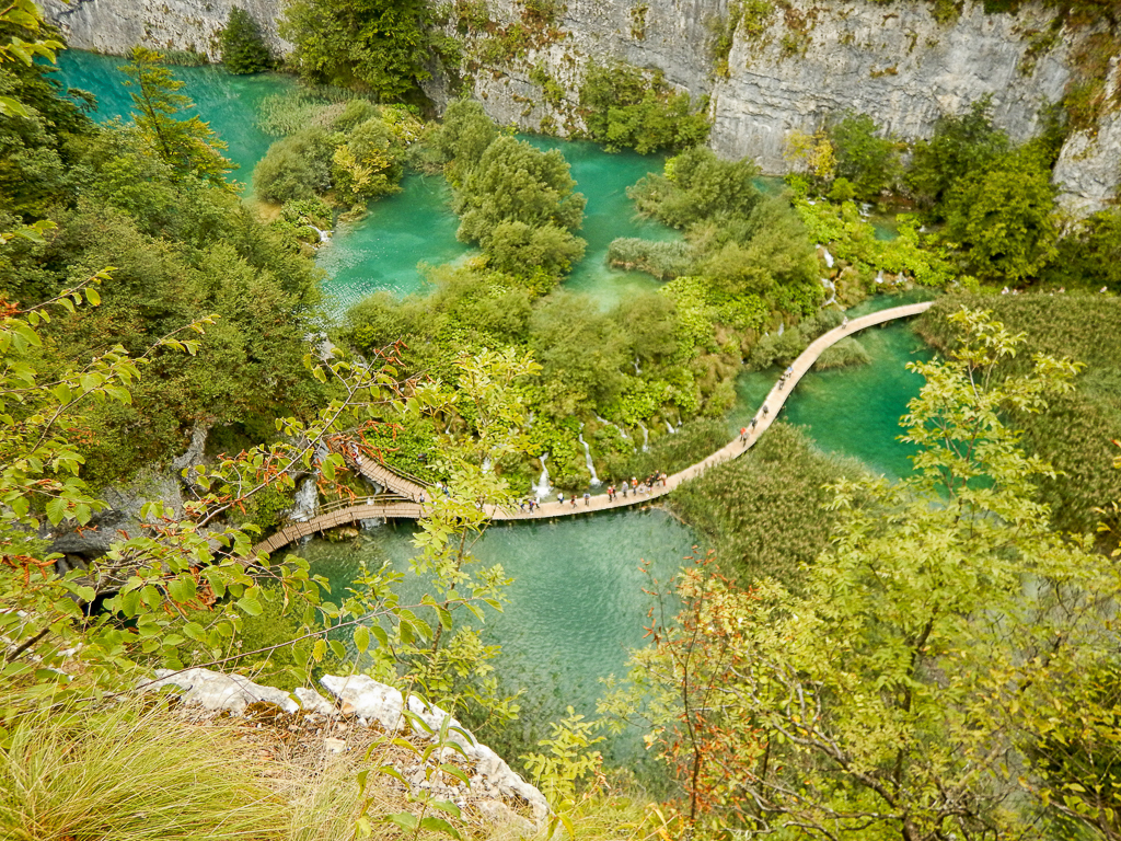 An aerial view from a high path Plitvice Lakes