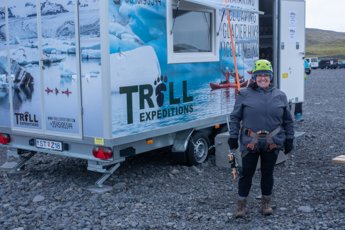 Getting kitted out for the Sólheimajökull glacier