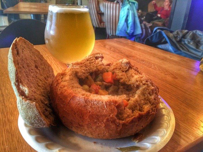 Stew in a bread bowl Reykjavik